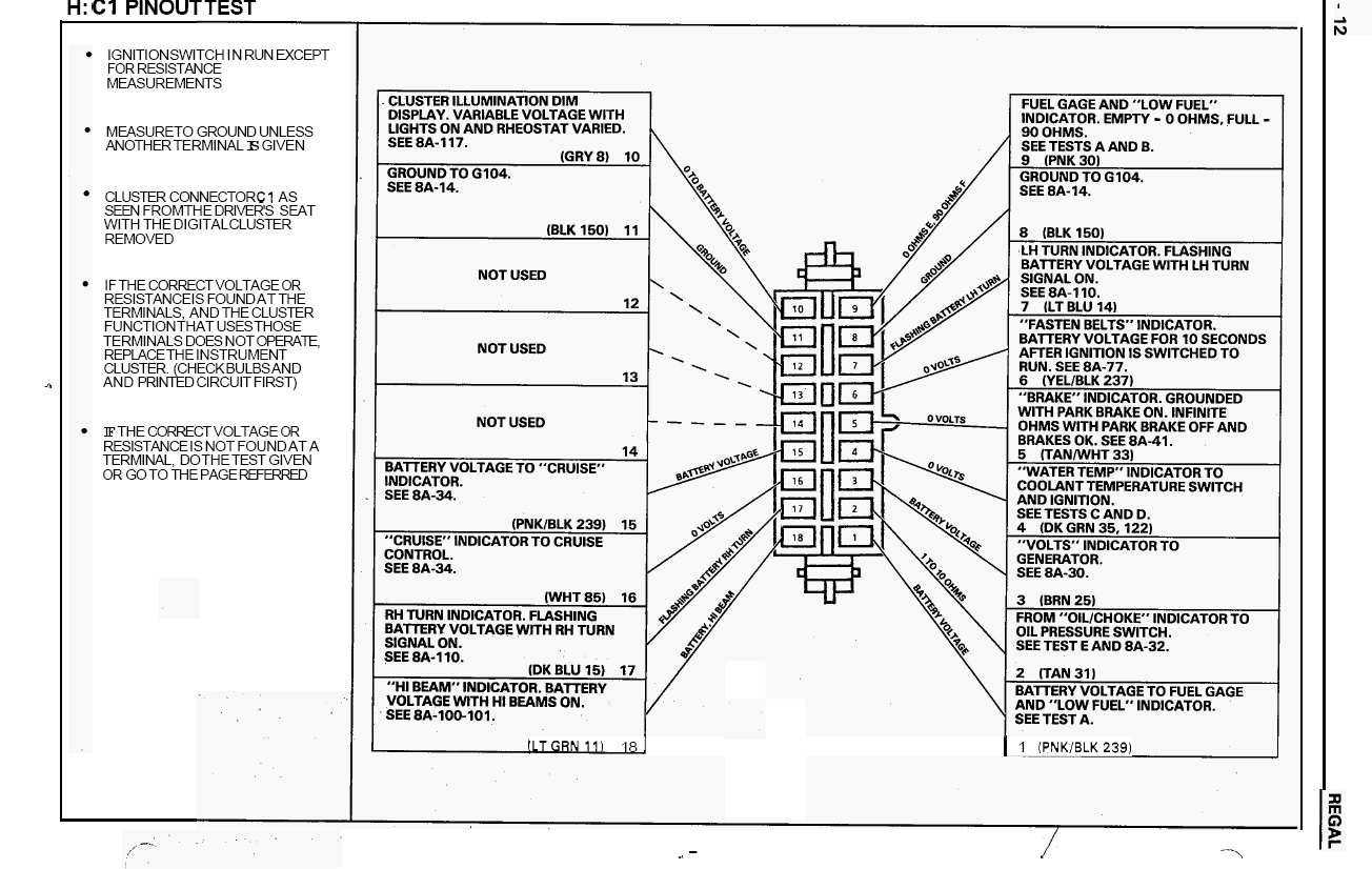 2011 Buick Regal Wiring Diagram Simple Guide About 1993 Fuse Box Gauge Cluster Instrument Panel Turbobuicks Com Headlight